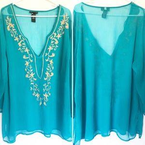 CATHERINES Plus Embroidered Aqua Tunic